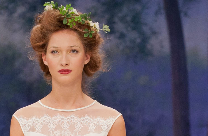 Romantic wedding hair and makeup Credit Claire Pettibone Fall 2012 bridal
