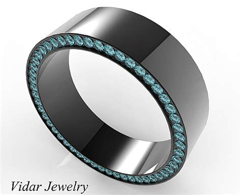 Black Gold Blue Diamonds Mens Wedding Band   Vidar Jewelry