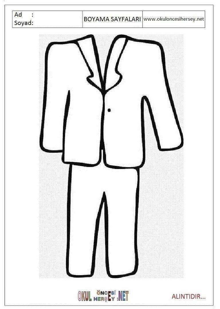Takım Elbise Ceket Boyama Sayfaları