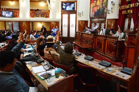 Momento en que se aprueba el proyecto de condecoración Che Guevara en la Cámara de Diputados de Bolivia. Foto: @Diputado