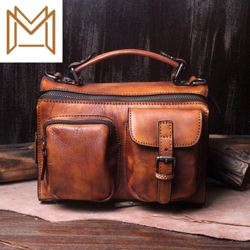 Sale Bag Woman 2019 Manual Leather Bag Woman Cowhide Genuine Leather Woman Package Handbag Woman Oblique Satchel Women's Singles
