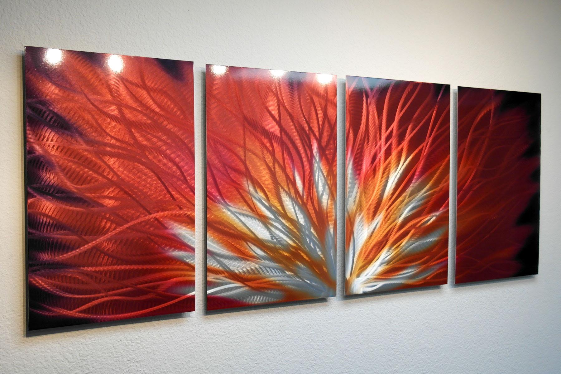 Fiamma 4 Panel- Metal Wall Art Abstract Contemporary ...