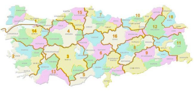 Türkiye Kilometre Cetveli Türkiye Haritası