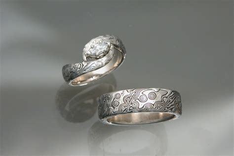 Custom Made 14kt White Gold Palladium Mokume Gane Wedding