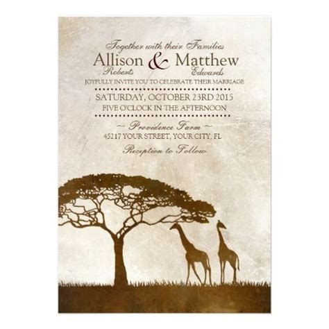 Rustic African Giraffe Wedding Invitations. Features two