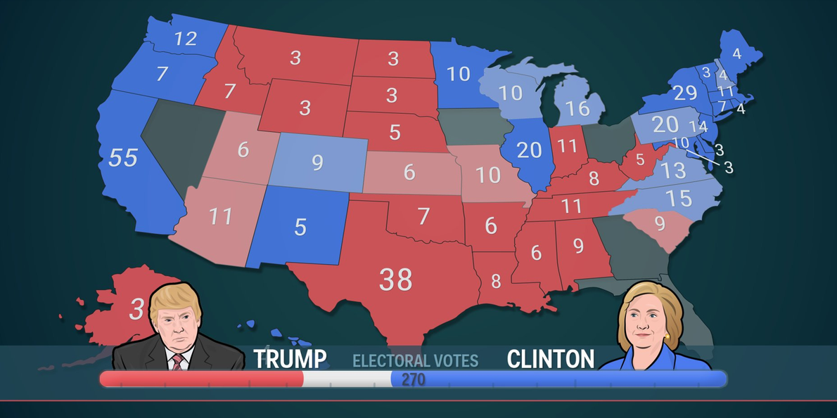 Nbc Battleground Map Shows Clinton Would Win If Election
