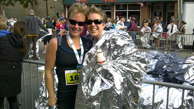 Laurie Ann Brown and Bridget Roy of Liverpool training for the  P.E.I. race in part to set an example for their children.
