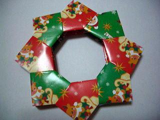 折り紙でクリスマスリース折り方写真有り 玉子ままの節約日記