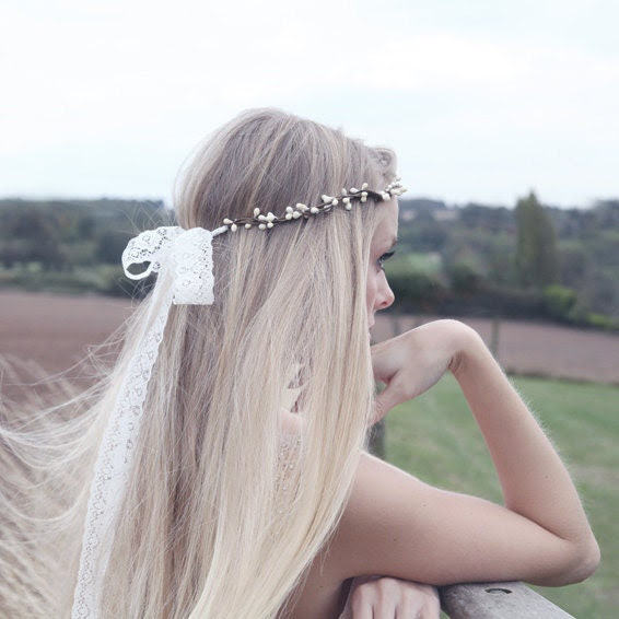 bridal headband Swarovski pearl and lace natural Noa
