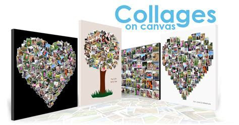 Photo collage print ideas on canvas   Heart shape and more