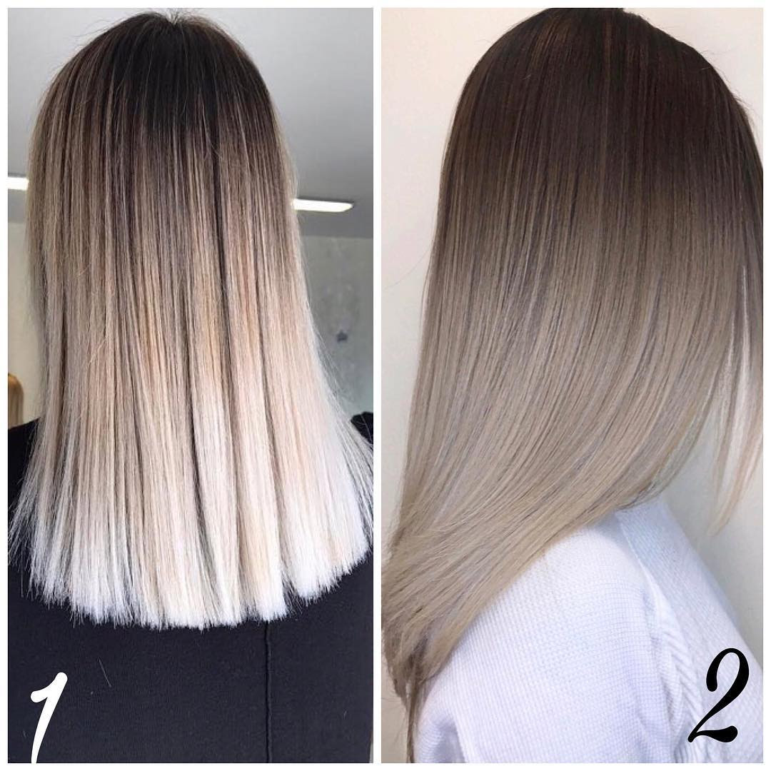 Brown To Blonde Ombre Long Straight Hair Hair Coloring