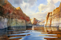 Peaceful Canyon watercolor by Roland Lee