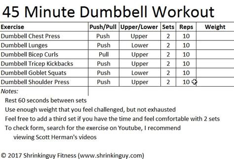 minute full body dumbbell workout  beginners