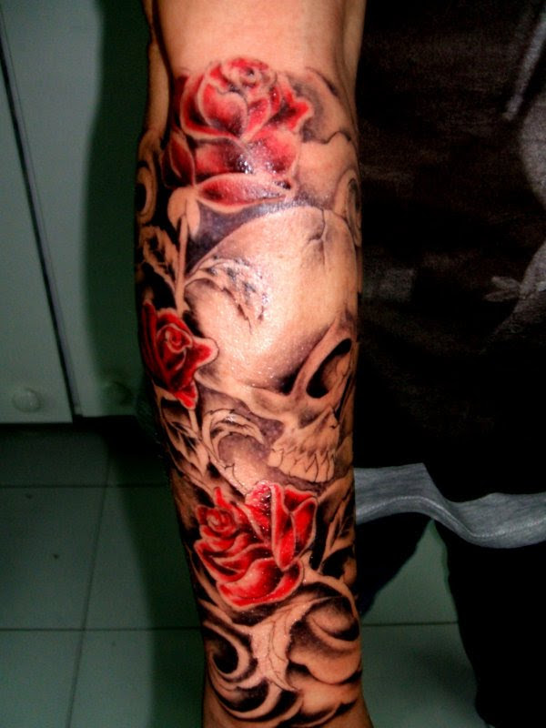 Skull And Red Rose Tattoo On Sleeve