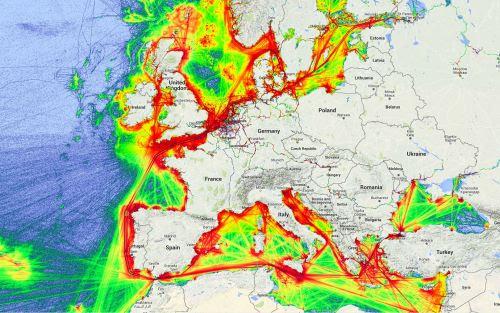 Maritime traffic density in Europe, 2014.