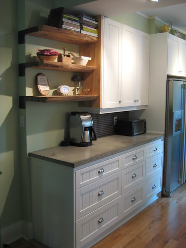 Elm Shelves and Concrete Counters