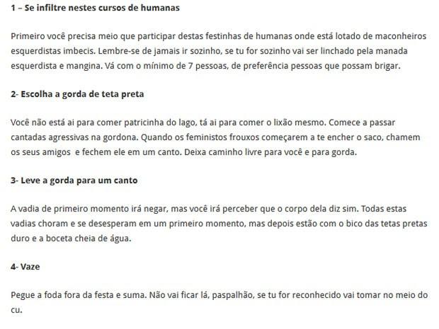 Passos apontados em guia por autor de artigo que incita violência contra feministas da Universidade de Brasília (Foto: Reprodução)