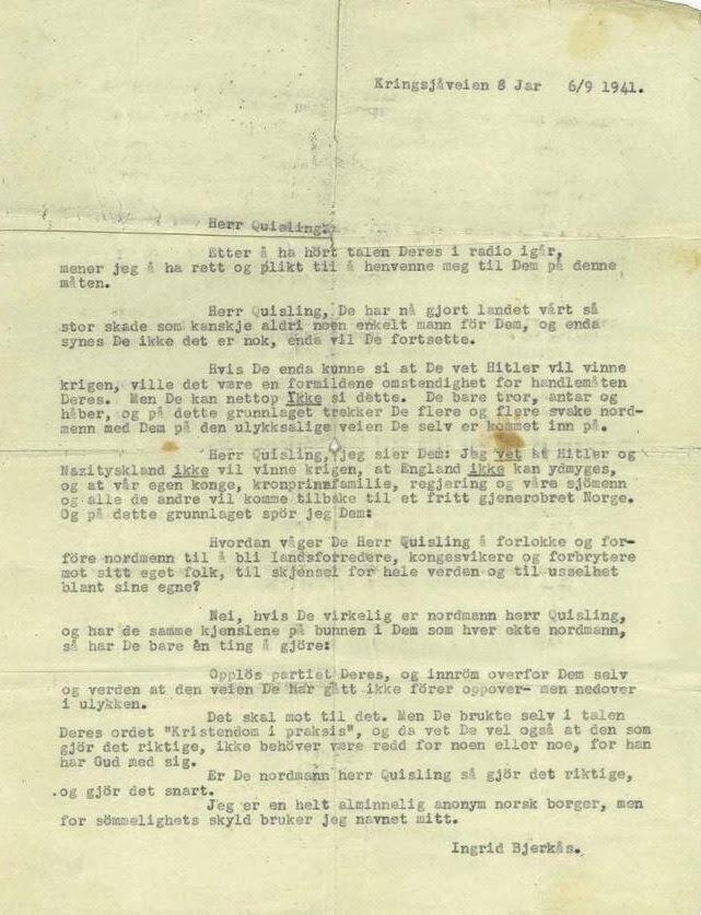 """Klar tale - Herr Quisling, De har nå gjort landet vårt så stor skade som kanskje aldri noen enkelt mann før Dem, skrev husmor Ingrid Bjerkås iet brev til VidkunQuisling i 1941. Som en følge av brevet til Quisling utarbeidet NS-legen Hans Eng en psykiatrisk rapport der Bjerkås ble karakterisert som """"jøssingismus psykopatica"""". Etter et nytt klagebrev i 1943, denne gangen til Reichskommissar Terboven, ble hun arrestert og satt på Grini. Ingrid Bjerkås er mest kjent for å være Norges første kvinnelige prest, utnevnt i 1961. Les mer om Ingrid Bjerkås Månedens tema mars 2013: Kvinner i 100Vi setter fokus på bra damer fra de siste 100 årene Arkivreferanse: RA/PA-1366, G1, 6"""