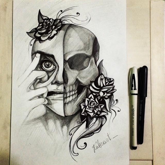 Half Girl Half Skull Drawing At Getdrawingscom Free For Personal