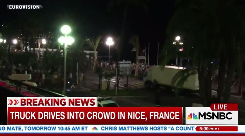 truck runs over Bastille Day revelers in Nice, France.