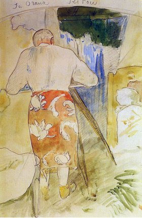 Paul Gauguin, Self-Portrait, at Work, Tahiti, ca. 1891-94