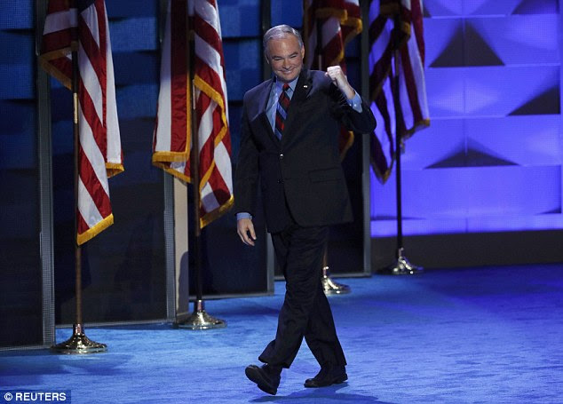 Sen. Tim Kaine showed off his Spanish speaking skills throughout his speech as his addition to the Democratic ticket will likely bring some Latino voters into the fold
