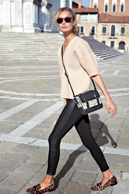 Le Fashion Blog Weekend Style Beige Shell Top Crossbody Bag Black Leggings Leopard Print Loafers Via J Crew