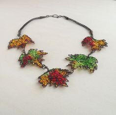 Copper Statement Necklace Autumn Leaves Leaf Nature Fall Colors Wire Wrapped Seed Bead Jewelry Handmade Viking Knit. $129.00, via Etsy.