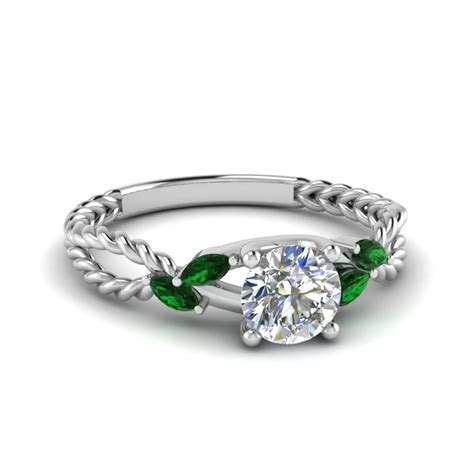 Emerald Braided Round Cut Diamond Engagement Ring In 14K