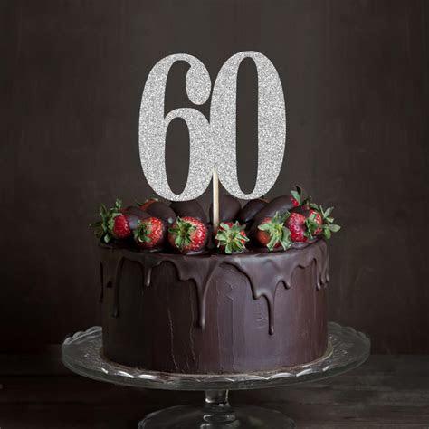 goldsilverblack glitter  cake toppersixty anniversary