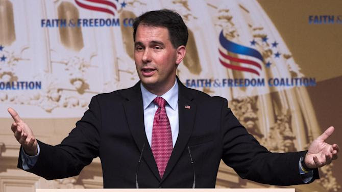 GOP potential presidential candidate Wisconsin Gov. Scott Walker, who is expected to announce his candidacy next month, speaks at the Road to Majority 2015 convention, Saturday June 20, 2015, in Washington. (AP Photo/Jacquelyn Martin)