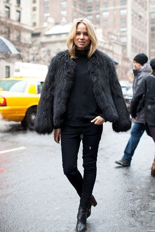 Le Fashion Blog All Black Everything Winter Street Style Elin Kling Black Fur Coat Black Sweater Black Skinny Jeans Leather Ankle Boots Via Harpers Bazaar