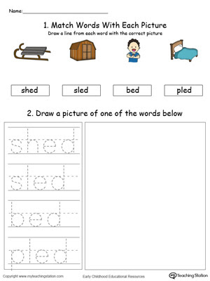 ED Word Family Phonics Writing Practice Color