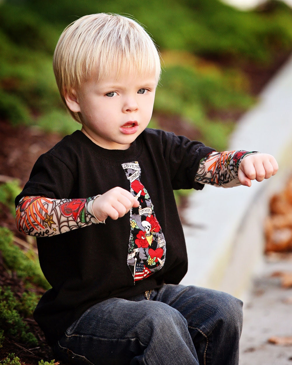 Boys Black High Roller Tattoo onesie with Michael Miller fabric tie