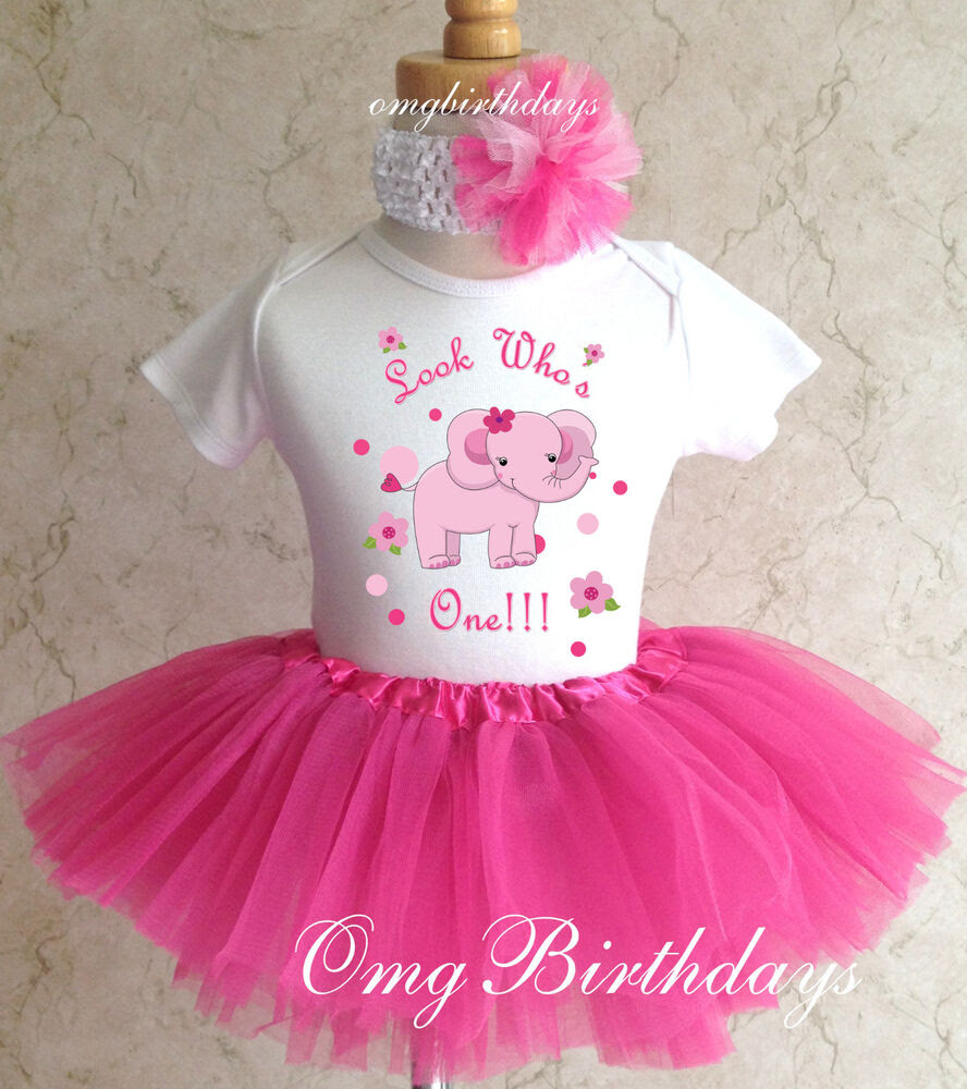 elephant pink adorable infant baby girl 1st first birthday