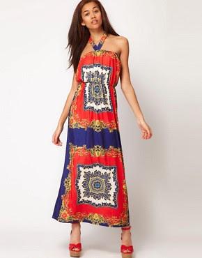 Image 1 ofPearl Scarf Print Maxi Dress