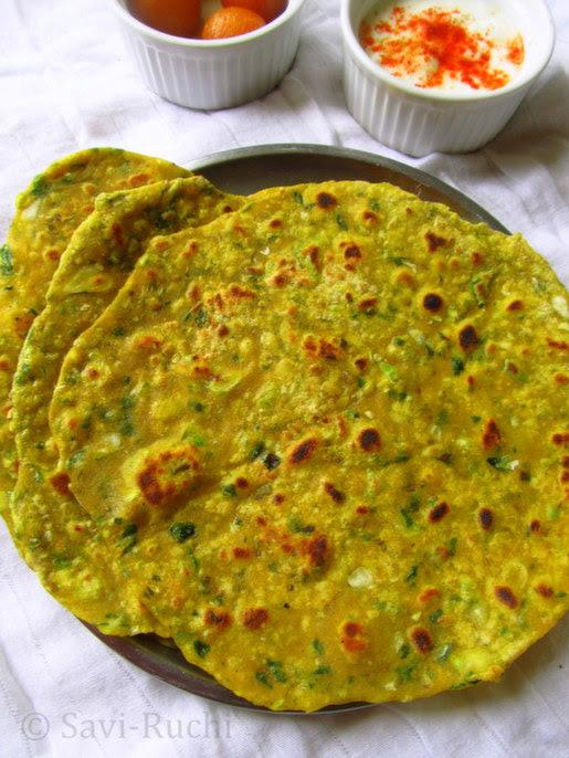 spinach cabbage paratha
