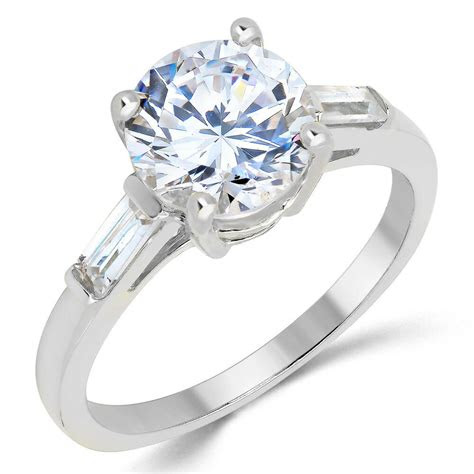 solid white gold cz cubic zirconia solitaire