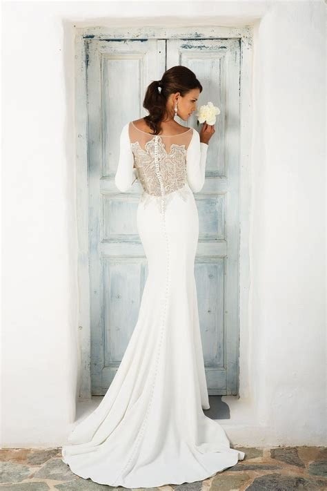 Style 8936: Crepe Long Sleeve Wedding Dress with Beaded