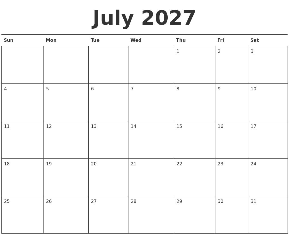 july 2027 calendar printable