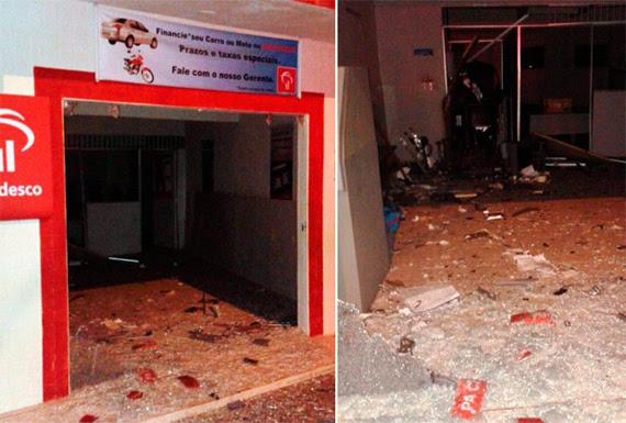 Alvo do ataque foi a agência do Bradesco, que ficou parcialmente destruída (Foto: Jean Souza)
