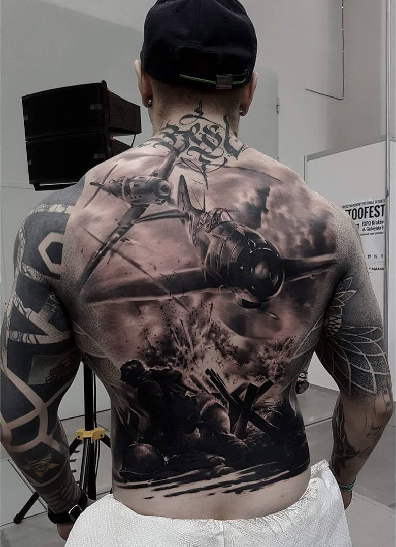War Back Tattoo With Fighter Planes Best Tattoo Design Ideas
