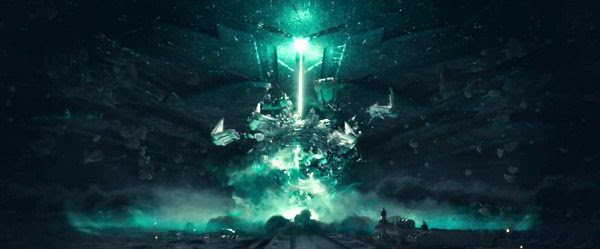 The alien mothership fires a beam that destroys a human-built weapon system on the Moon in INDEPENDENCE DAY: RESURGENCE.