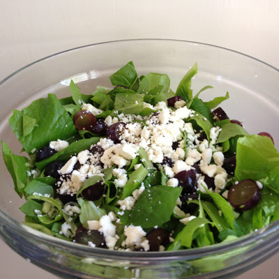 grape, goat cheese and homegrown greens