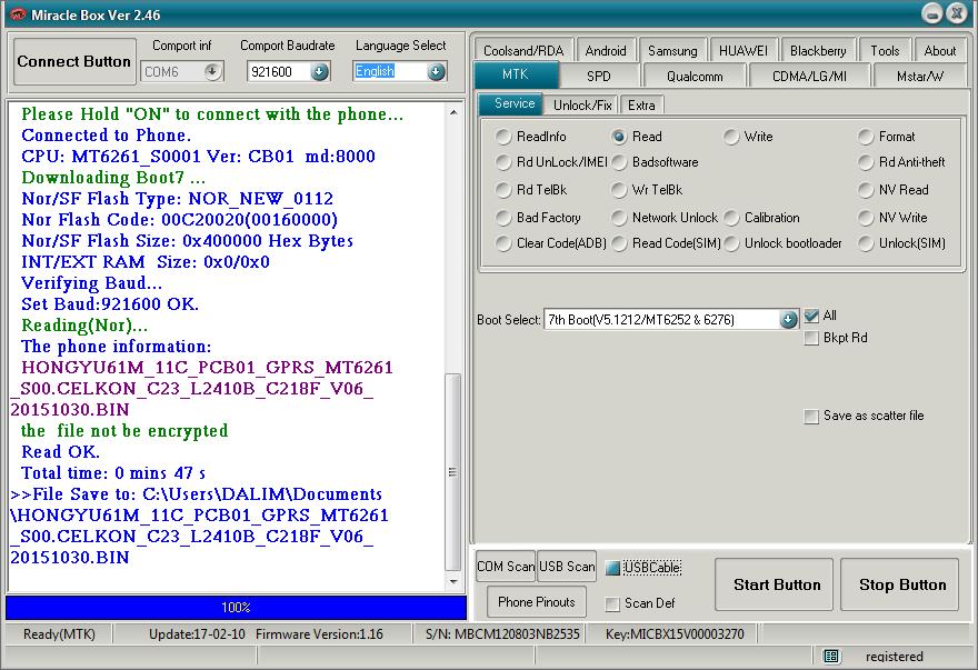 CELKON_C23 Read Firmware Done