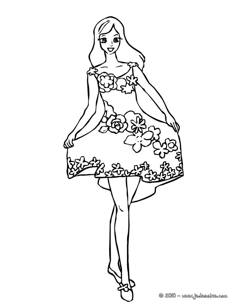 fée robe printemps  colorier