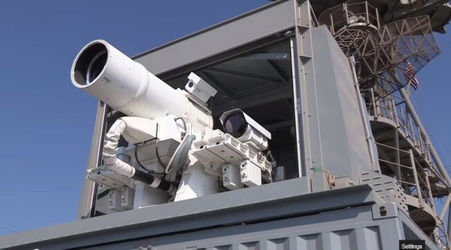 The Office of Naval Research-sponsored Laser Weapon System is seen deployed on the USS Ponce in the Arabian Gulf in a video posted on Dec 10, 2014.