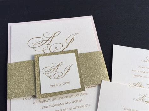 SAMPLE   Glitter Wedding Invitations, Glitter Belly Bands