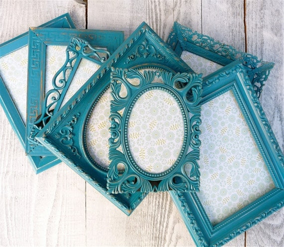 Set of 7 Painted Shabby Chic Frames, Bright Turquoise Teal