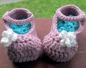 Baby Mary Jane Shoes / Slipper Bootie - NB to 6 months - ready to ship Pink and Brown Crochet